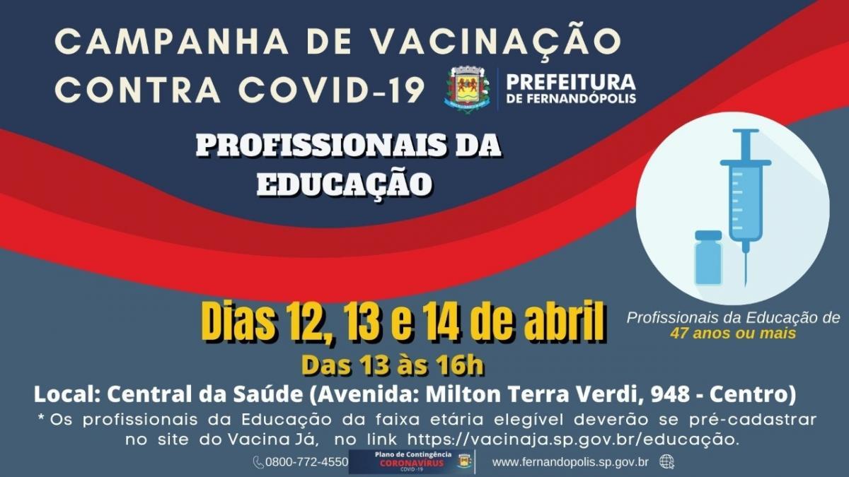 Profissionais da educação começam a ser vacinados na 2ª feira em Fernandópolis