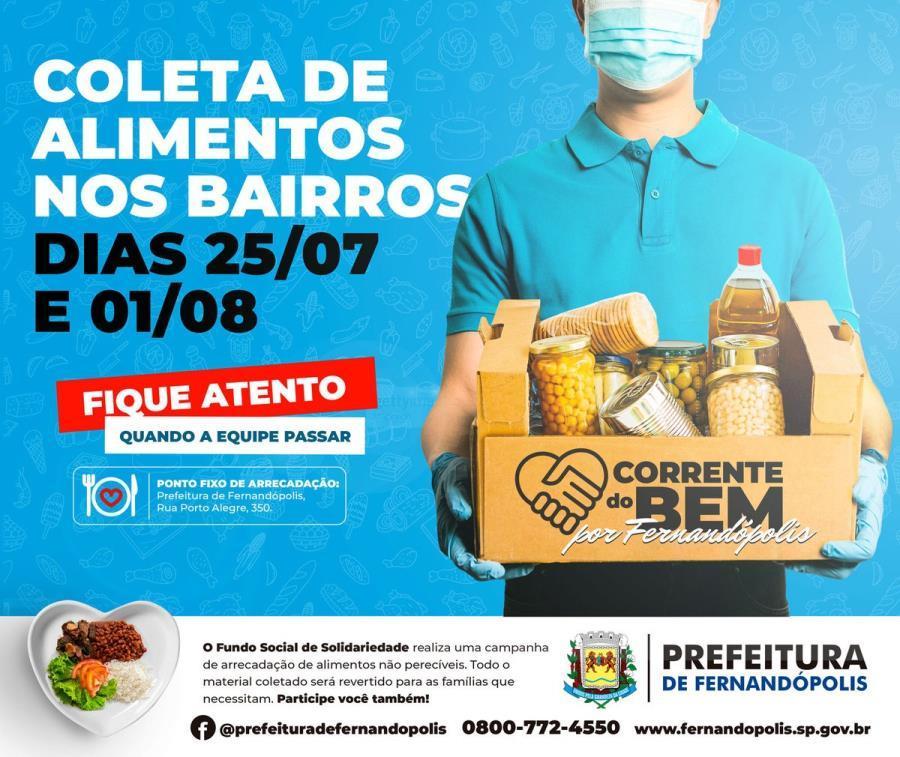 Fundo Social de Fernandópolis promove Campanha de Arrecadação de Alimentos