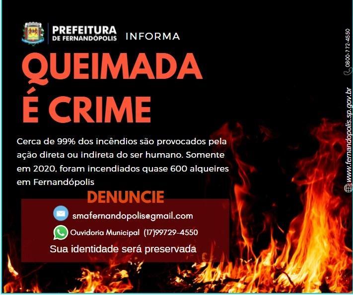 Prefeitura de Fernandópolis alerta sobre crimes ambientais com queimadas