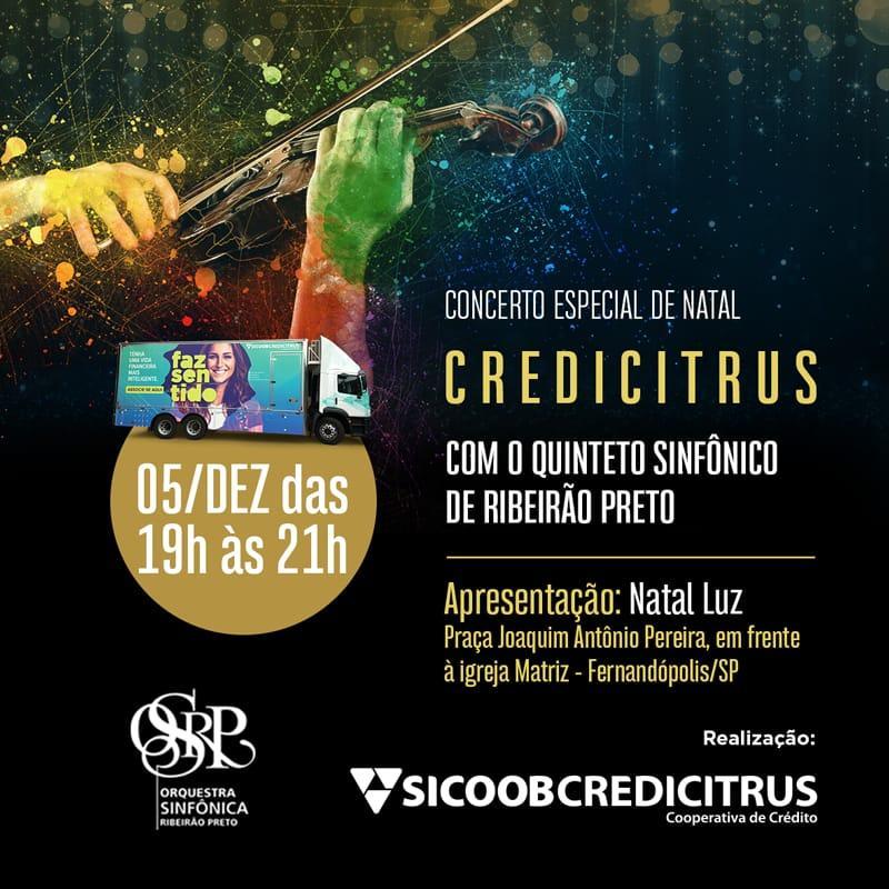 Concerto 'Natal Luz' acontece nesta quinta, 05, na Praça Central de Fernandópolis