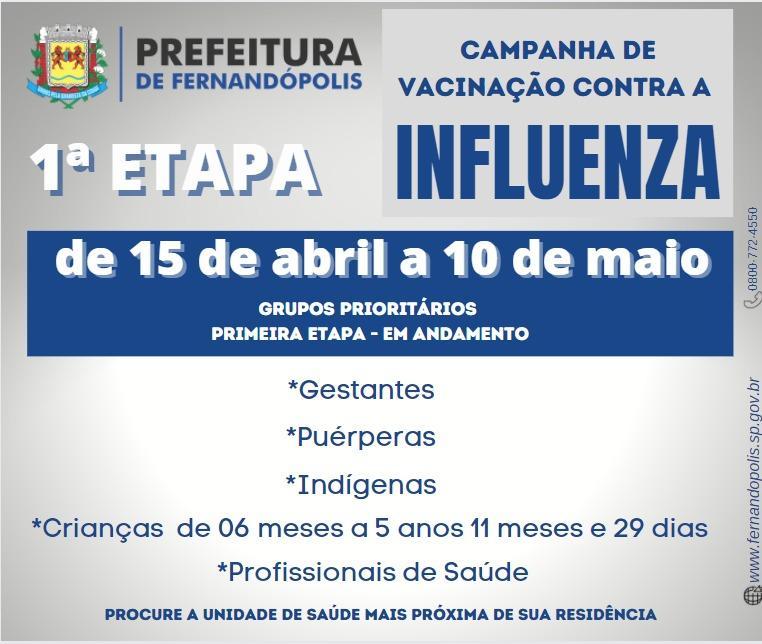 Vacinação contra a Influenza começa nesta quinta em Fernandópolis