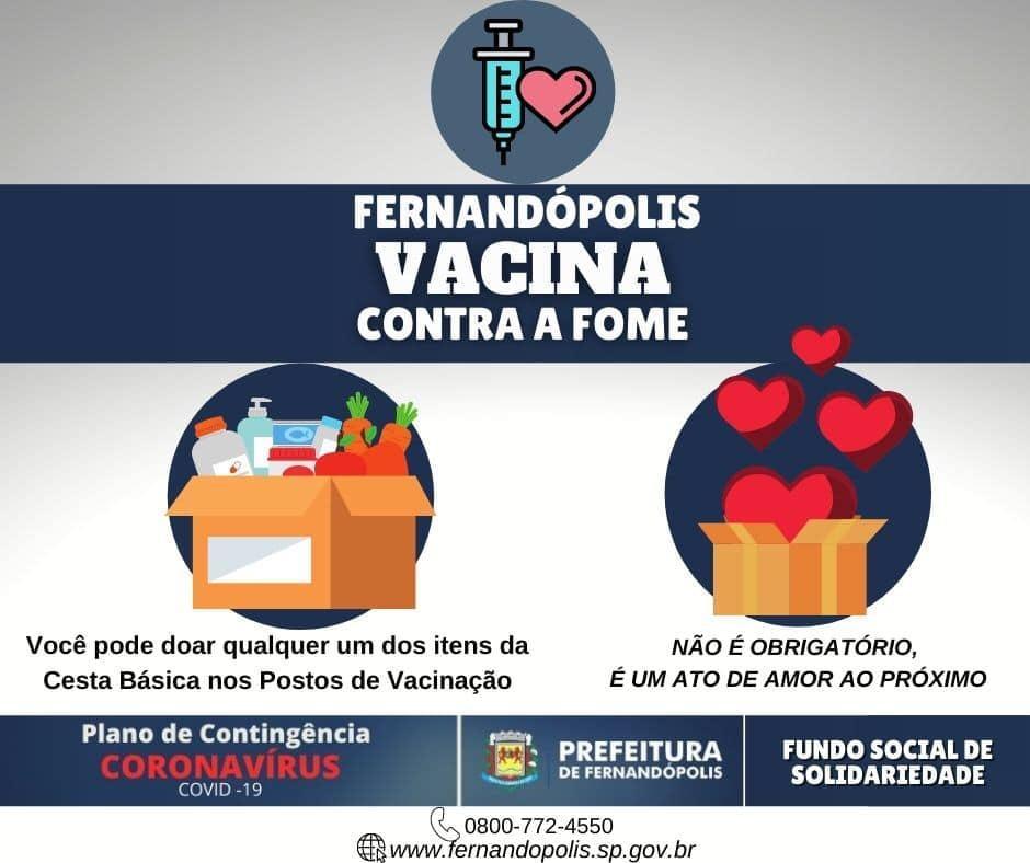 Fernandópolis inicia campanha 'Vacina contra a Fome'