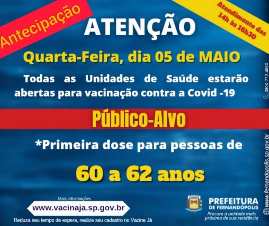 Fernandópolis antecipa vacinação do grupo de 60 a 62 anos para esta quarta-feira