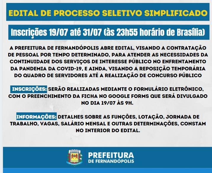 Prefeitura de Fernandópolis abre processo seletivo na próxima semana